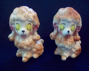 """Vintage Poodle Figurine Pair 5"""" Tall  Ceramic Cute Faces circa 1950s Unsigned"""