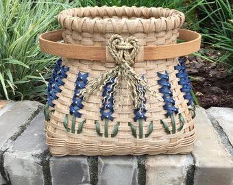 Medium Texas Bluebonnet Hoop Basket Bluebonnet Basket Texas Basket Bluebonnets Made in USA Handwoven Basket Made in Texas
