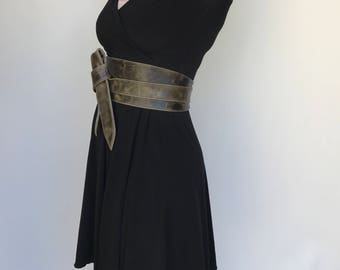 Green Distressed Leather Obi Belt, Wide Wrap Tie Belt, Wraparounds Sash Belts