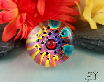 Soul Fire - Lampwork Cabochon - interchangeable jewelry topper for basic jewelry such as pendant/ring topper - Michou Anderson Originals ®
