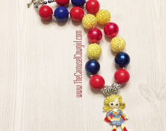 Superwoman Bubblegum Necklace, Supergirl Necklace, Chunky Necklace, Super Hero Necklace, Photo Prop, Toddler Necklace, Superman