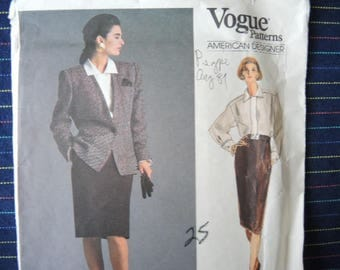 vintage 1980s Vogue sewing pattern American Designer Anne Klein 1931 misses jacket blouse and skirt size 16 UNCUT