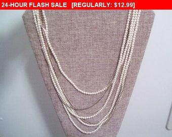multi strand chain bead necklace, statement necklace, hippie, boho, estate jewelry