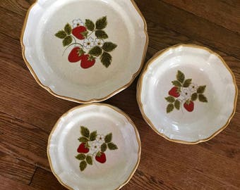 12  pieces Vintage Mikasa Strawberry Festival Stoneware Dinner Plates, Salad Plates and Bowls, 1970s, Japan Stoneware, 4 place settings