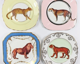 Big Cats plate set