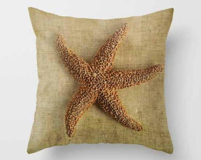 Starfish Photo Throw Pillow, Nautical, Cottage Decor, Starfish, Photography, Beach Pillow