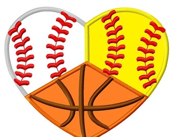 Baseball Basketball and Softball Heart Applique Embroidery Design sizes 4,5,6,7 inches  INSTANT DOWNLOAD