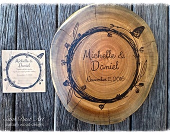 Personalized cake stand /Wedding cake stand/ Wedding gift /Wood slices/log slice/log slice cake stand