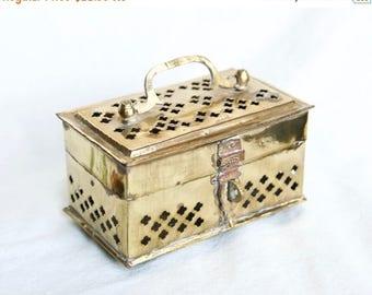 Vacay SALE...ships 7/8... Vintage brass cricket box or potpourri box...brass box with feet...openwork brass box.