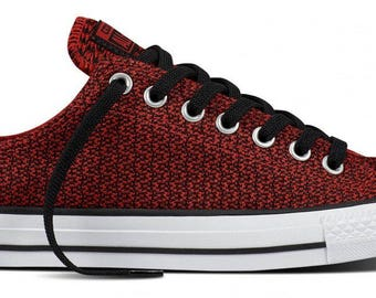 Converse Low Top Red White Black Static Knit woven crochet Custom w/ Swarovski Crystal Rhinestone Mens Chuck Taylor All Star Sneakers Shoe