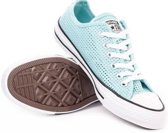 Converse Low Top Aqua Poolside Blue Teal Perforated Air Condition Canvas w/ Swarovski Crystal Chuck Taylor Rhinestone All Star Sneakers Shoe