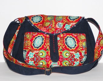 colourful original navy blue  faux-leather large colourful messenger bag handbag  adjustable strap compartments bohemian fabrics  flowers
