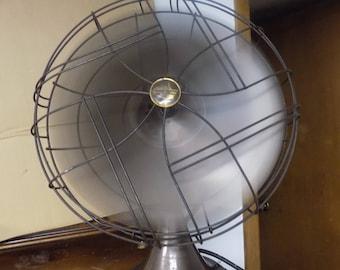 """Vintage Electric 18"""" Brown Emersen Electric Fan, Heavy Duty Cast Iron Fan, Office Decor, Three Speed Fan"""