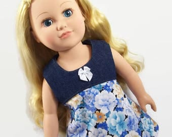 Casual Blue and Cream Sleeveless Dress - Made to Fit 18 Inch Dolls Like American Girl Doll Clothes