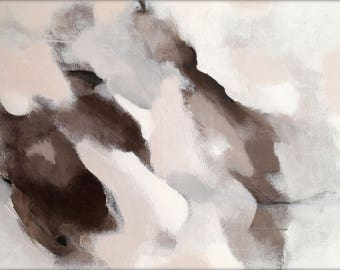 Abstract painting. Acrylic on canvas. Grey, beige, brown, white. Soft feel art.