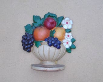 Vintage Cast Iron Doorstop Fruit Basket