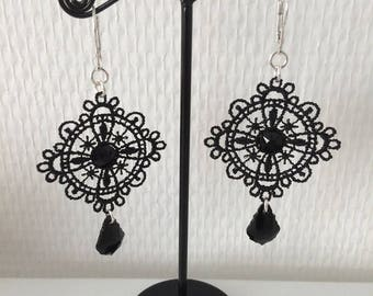 Lace with Crystal stones earrings