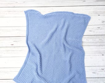 knitted blue baby boy blanket | cotton blanket | knitted baby blanket | baby shower gift | receiving blanket | stroller blanket