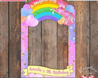 "Unicorn Rainbow Theme 24"" x 36""  Happy Birthday Photo Booth Frame Digital Download"
