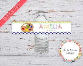 Art Printable Water Bottle Labels - Paint Party Printable Water Bottle Labels