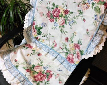 Waverly Pillow Shams, Two, Pink Roses