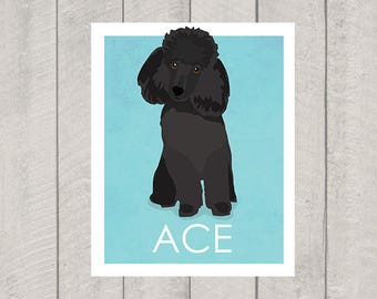 Black Miniature Poodle Art Print - Custom Dog Art