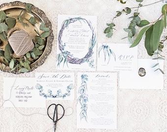 australian gum Wedding Invitation & Packages   Custom Calligraphy Wedding   gum foliage Wedding   The Orchard Collection
