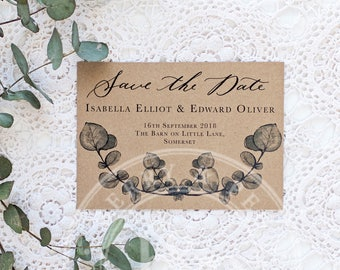 australian gum save the date   Custom Calligraphy Wedding   gum foliage Wedding   The Orchard Collection