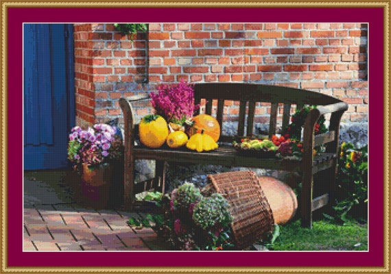 Autumn Bench Cross Stitch Pattern /Digital PDF Files /Instant downloadable