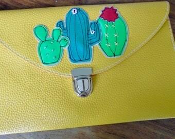 Cactus clutch/ yellow handbag/ cactus handbag/ leather clutch purse