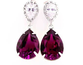 Amethyst Earrings Swarovski Earrings Amethyst Crystal Bridal Earrings Bridesmaids Earrings Eggplant Plum Purple Wedding Jewelry AM31P
