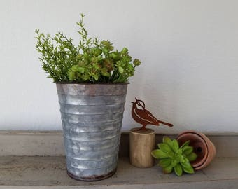 Galvanized Vase Planter Faux Dill with succulents  Farmhouse