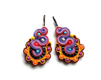 Soutache-earrings-dangle soutache earrings boho OOAK Colombia