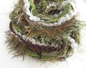 Fiber Art Yarn Bundle - Fringe Yarn -  Forest Floor 2 - 16m - 17.5yds - Green and Brown