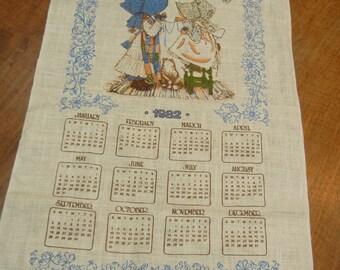 1982 Holly Hobbie calendar tea towel