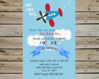 AIRPLANE BIRTHDAY INVITATION - Birthday Party Invitation - Digital File - Fully Customized - Airplane and Clouds Boy Birthday Party Invite