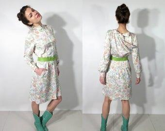 SALE Vintage Ricano White Floral Belted Dress