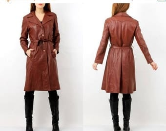 SALE Vintage Brown Leather Coat L