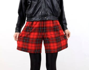 SALE Vintage Red Plaid High Waisted Wool Shorts Size 42 Made in Italy