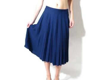 25% OFF 90s Blue Skirt / Vintage Blue Skirt / Sparlen Skirt / Crimplene Skirt / Navy Blue Skirt / Accordion Skirt / High Waisted Skirt - Siz