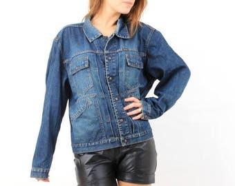 SALE Diesel Jacket / 80s Diesel Jacket / Vintage Diesel / Blue Denim Jacket / Man Denim Jacket / Large Denim Jacket / Man Diesel Jacket