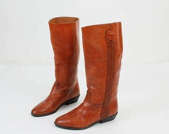 SALE Size 36 Boots / Brown Leather Boots / Woman Boots / Girls Boots / 80s Boots / Italian Boots / Ankle Boots / Vintage Boots / Leather Boo