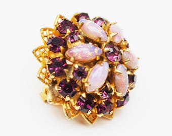 Purple rhinestone brooch - Flower floral - art glass opalescent - domed pin