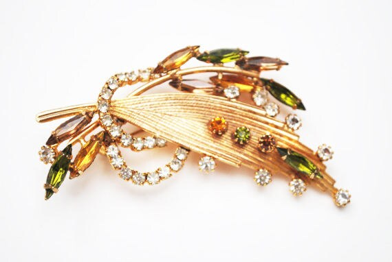 Vintage Rhinestone gold leaf  Brooch - orange green clear crystal - large  Floral Mid Century Pin -