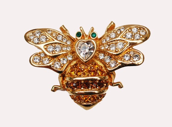 Swarovski Bee Insect  Brooch - Clear Orange   Rhinestone -  gold metal - Green-  Swan signature - Butterfly -Yellow Jacket Bumble bee   Pin
