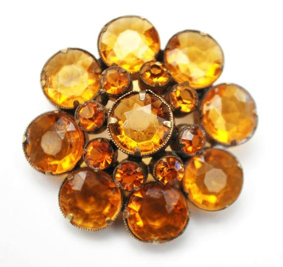 Amber Rhinestone Flower Brooch - Signed Czecho -  Orange Crystal - open back gold plated - Citrine glass - Slovakia pin