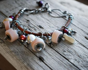 Chunky Gemstone Bracelet Pink Peruvian Opal Cluster on Rustic Leather Oxidized Silver Jewelry by Letemendia
