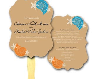 ON SALE Simple Shells Die Cut Antique Frame Mini Program -  Wedding Hand Fan, Paper, Tan and Orange, Wedding Favor, Beach Weddings, Seashell