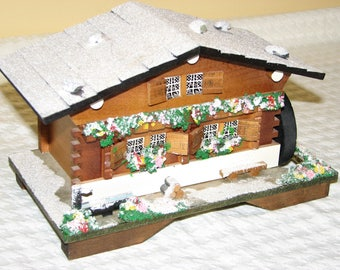 Musical Jewelry Box Cottage With Waterwheel