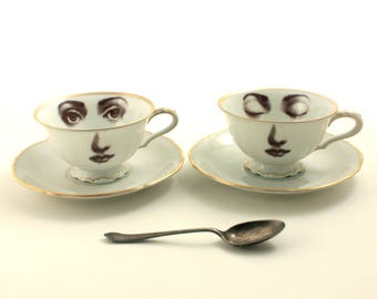 Wedding Couple, Wedding Cups, 2 Vintage Porcelain Coffee Tea Cup, Lina Cavalieri, Face Cups, Face Art, Anniversary, Engagement, Wedding Gift